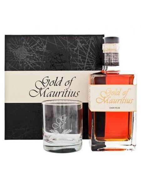 Gold of Mauritius Rum Dark Set Mauritius Gift Box 1x sklenice