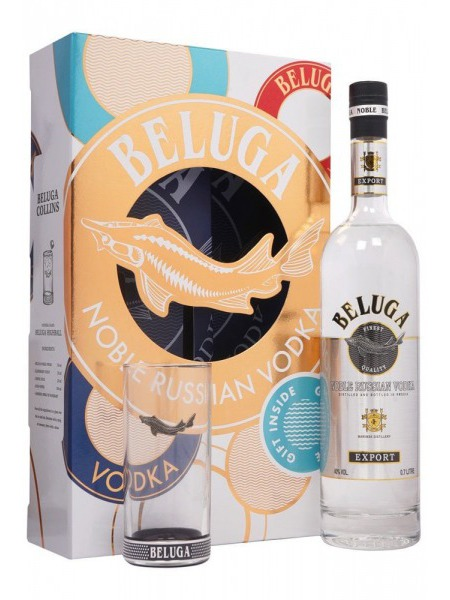 Beluga Vodka Noble Gift Box 1x sklenice Russia