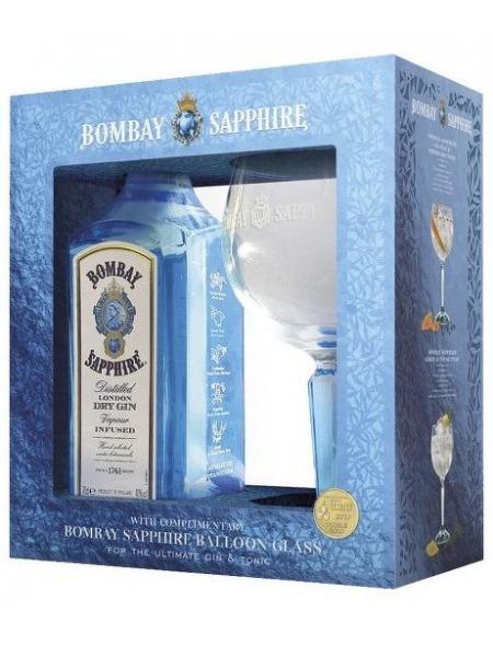 Bombay Gin London Dry Sapphire UK set 1 sklenice